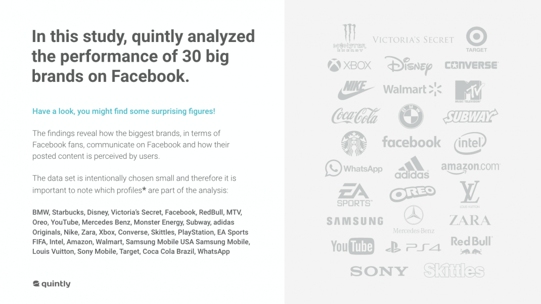 top 30 brands on facebook according to quintly
