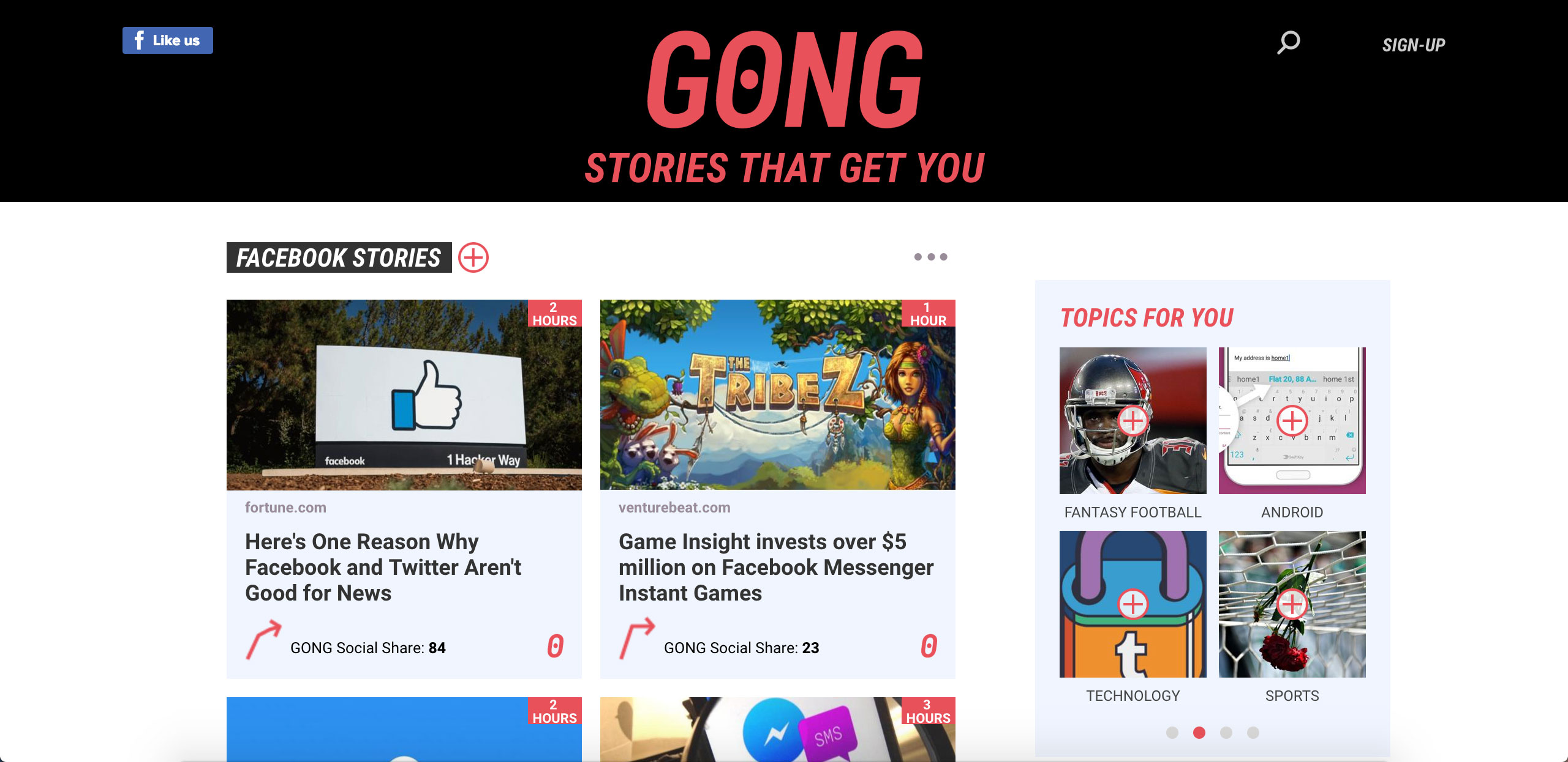 Source Interesting Stories Before They Become Hot With GONG Homepage