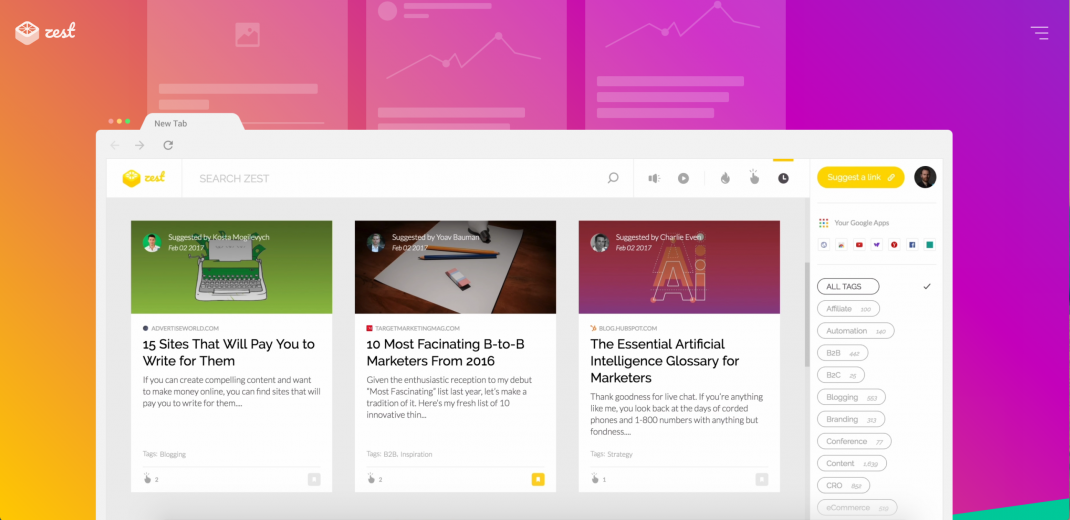 find great marketing content with zest homepage