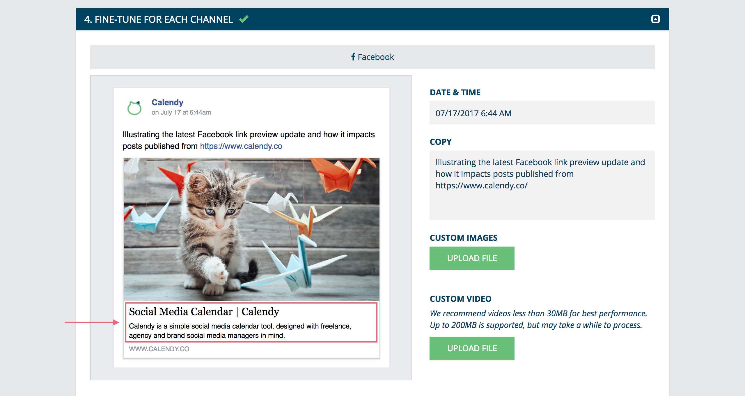Facebook link preview update example 2